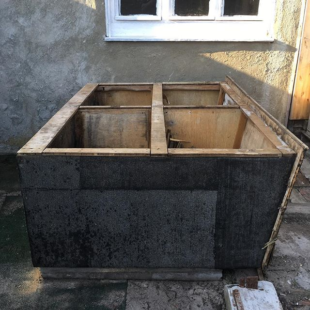 Conversion of rabbit hutch into planter has begun. Hand sawed off all the legs today… of the hutch, not the rabbits.