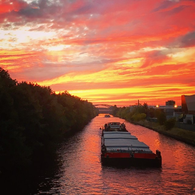 The canal next to the garden. We see from big barges to small kayaks, and some amazing sunsets. This one was a few weeks ago.