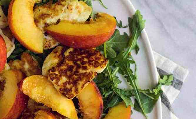 PAN FRIED HALLOUMI & PEACH SALAD