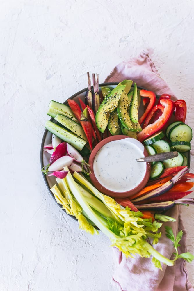 VEGGIES WITH HOMEMADE RANCH DRESSING