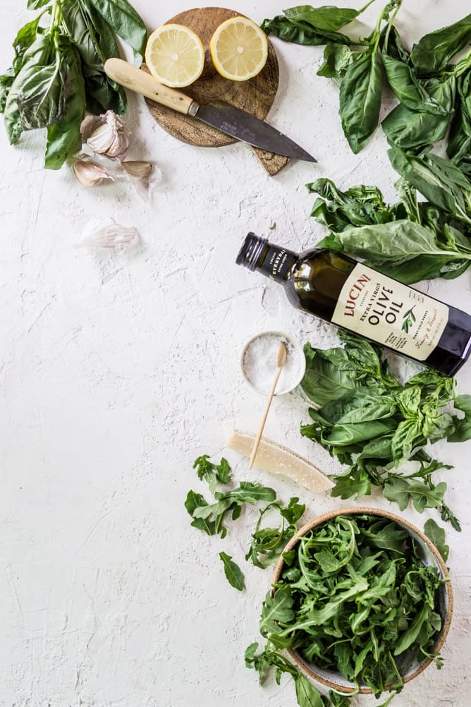 5 MINUTE ARUGULA BASIL PESTO with simple whole ingredients and no nuts by @lenaskitchenblog.com