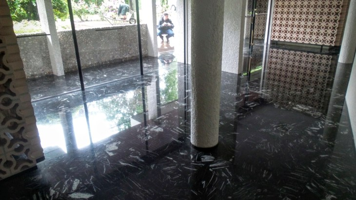 the lobby with 5 cm of water