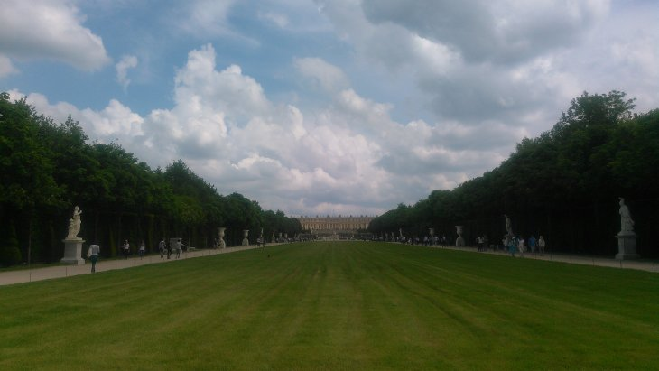 View back towards the palace from the other end of the big lawn.