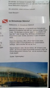 A text explaining an app of the train station in Alsatian.