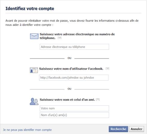 Identifier son compte Facebook