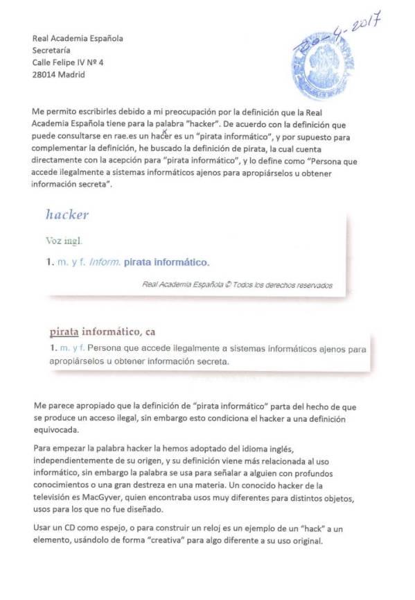 Carta a RAE (pág. 1)