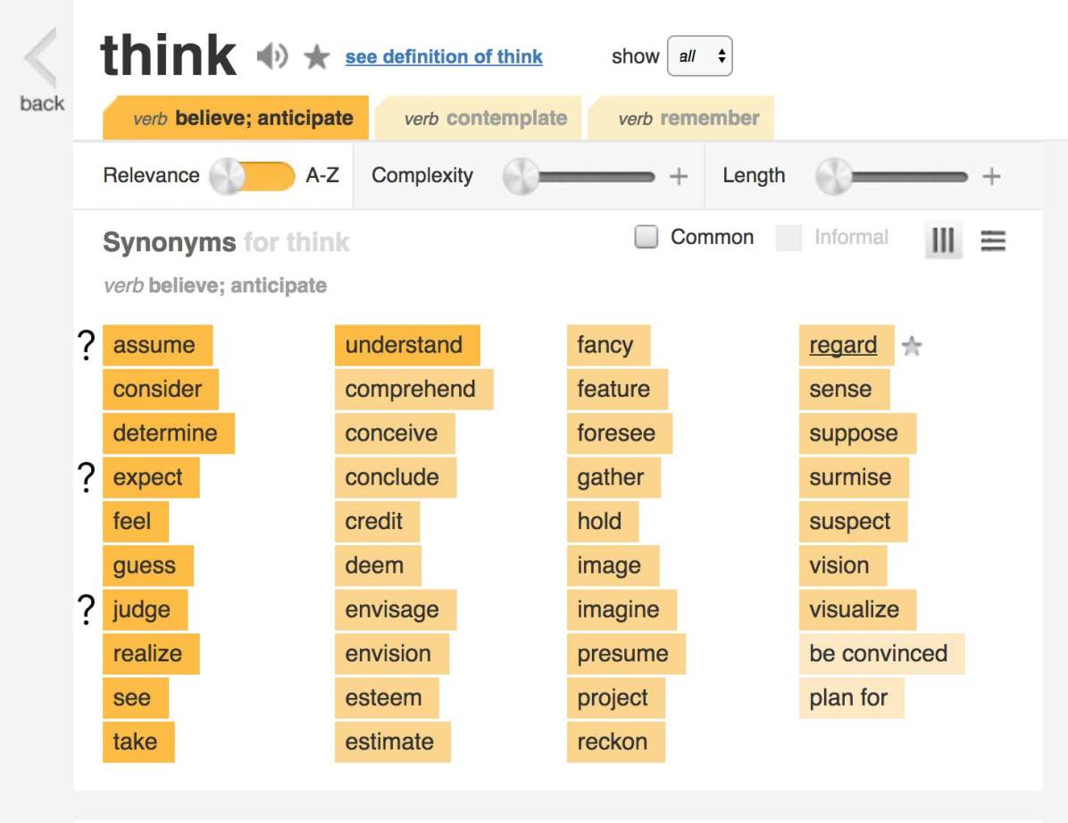 I was surprised to see a couple words come up in thesaurus alongside think