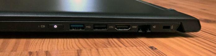 Indikačná dióda stavu batérie, tlačidlo zapnutia/vypnutia zariadenia, USB 3.0, USB 2.0, HDMI, LAN, Kensington zámok