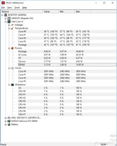 Teploty po dlouhofobé zátěži jen CPU