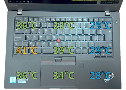 Teploty T460s po 20 minutách maximální zátěže