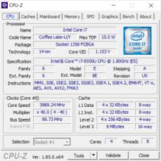 CPU-Z, údaje o procesoru.