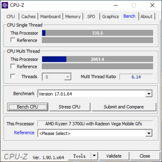 CPU-Z Benchmark (IdeaPad S340-14IKB).