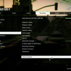 GTA V, nastavení grafiky.