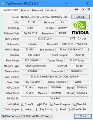 ThinkBook 15p IMH GPU-Z nVIDIA