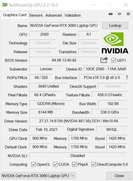 Legion5pro GPUz