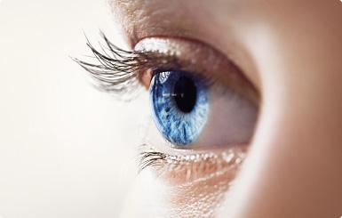 Closeup of a blue eye.