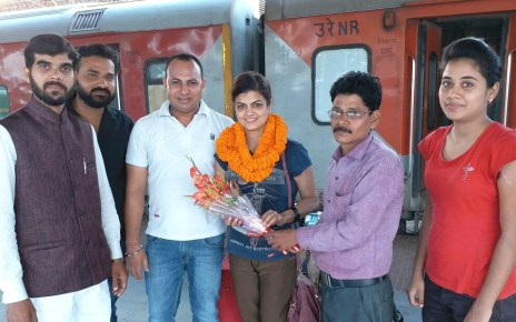 Warm welcome to mrs india in Ranchi