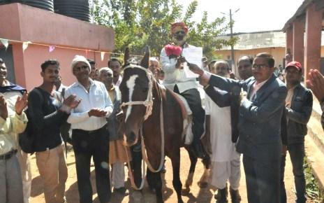 Farewell of nirdhan mandal on horse.