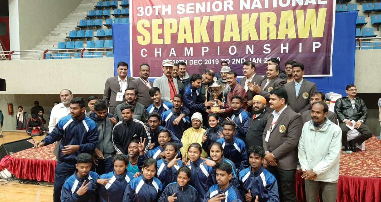 The 30th senior National sepaktakra Championship concluded with gold to Jharkhand in double event