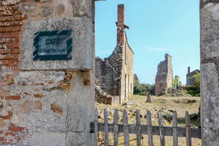 What was once a cafe in Oradour-sur-Glane