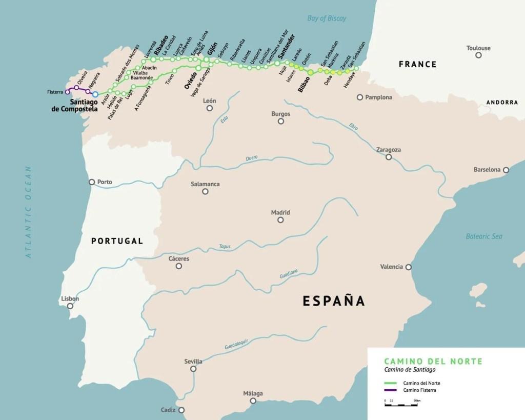A map of the camino del norte