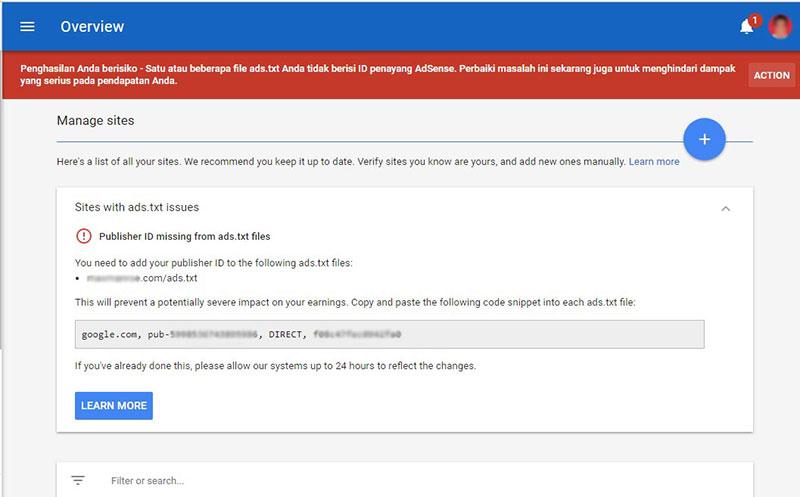 Cara Mengatasi Masalah Ads.txt Untuk Google Adsense
