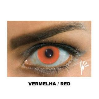 Lente de contato colorida vermelha