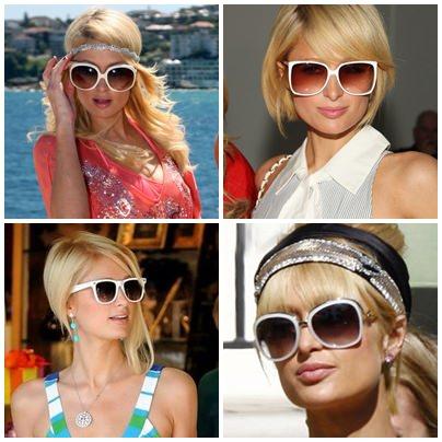 47af52cf5bdb6 Paris Hilton de Óculos de Sol Branco