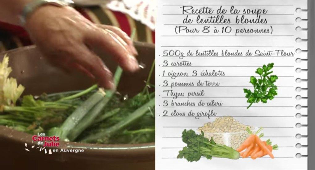 Recette de la soupe de lentilles avec « Les carnets de Julie »