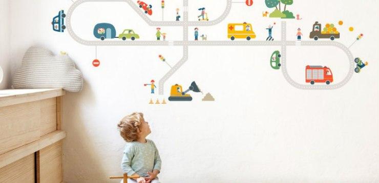 Nuovi adesivi da parete: la natura in città nella stanza dei bimbi!
