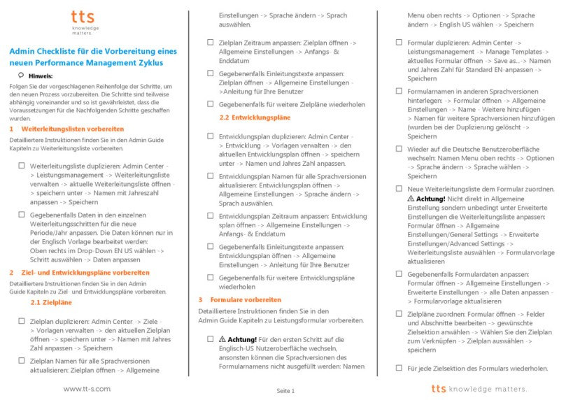 SAP SuccessFactors Checkliste für Performance and Goals Administratoren