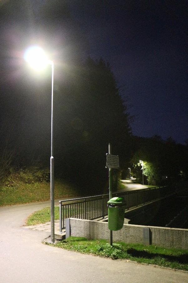 Die neue Straßenbeleuchtung am Trabochersee (Foto: Jandrischits)