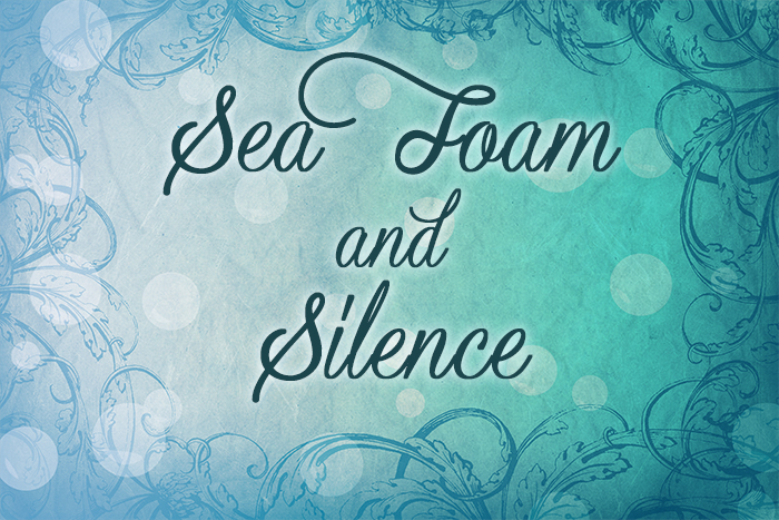 "A blue gradient with a bubbly background and the text ""Sea Foam and Silence"""