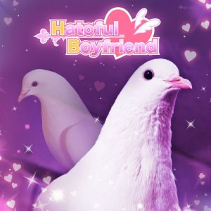 Cover for Hatoful Boyfriend. Two pigeons on a dreamy, purple background.