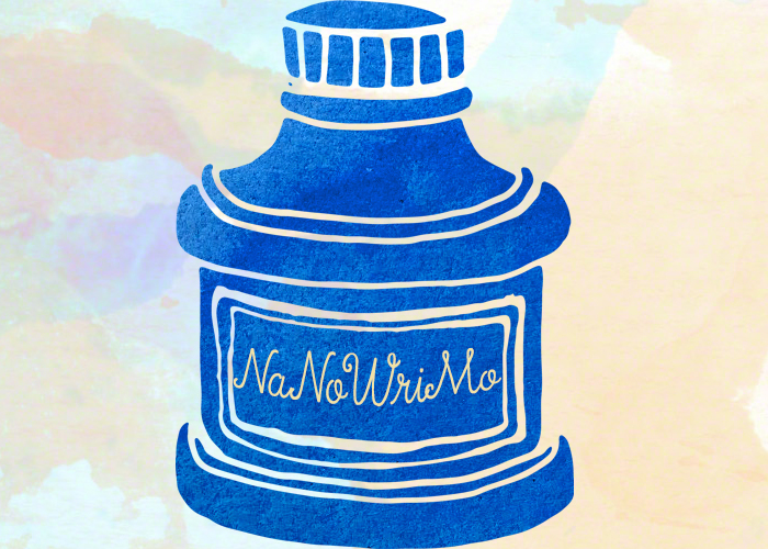 NaNoWriMo Updates. An inkwell with the text 'NaNoWriMo' written on it.