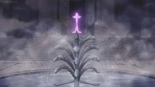 A dark, ruinous courtyard. Water is flowing from an ominous fish-shaped fountain. A pillar is glowing purple in an archway.