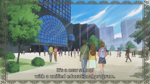 "Young people walking towards a building, presumably a school. Text: ""It's a new school with a unified educational program"""