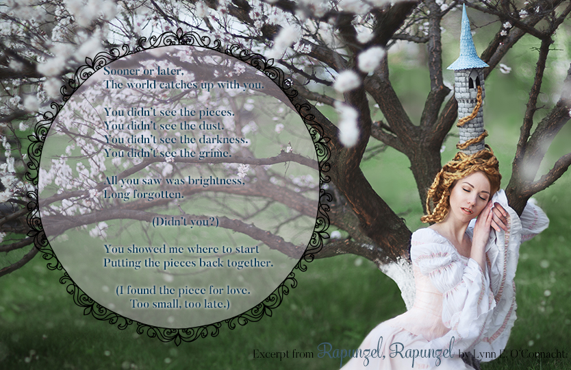 Rapunzel, Rapunzel Teaser #3. A girl with long hair and a tower-shaped hat sleeping against a tree in bloom.