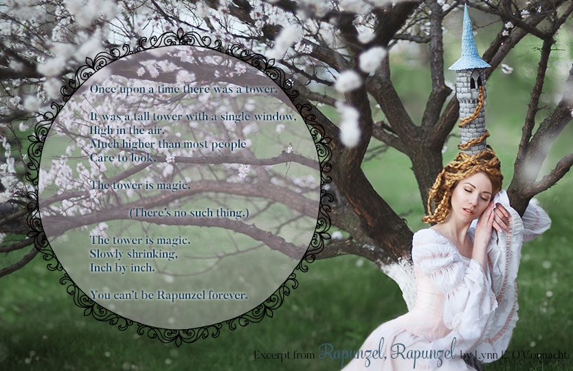 Rapunzel, Rapunzel Teaser #4. A girl with long hair and a tower-shaped hat sleeping against a tree in bloom.