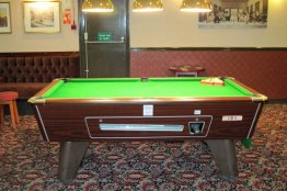 Pool room with one match-sized table