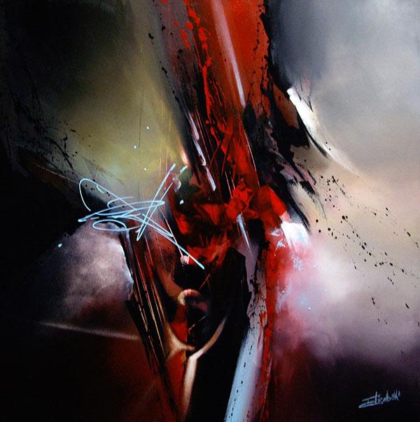 Le monde d 39 elisabeth roche alazet travers la peinture abstraite - Peinture glycero ou acrylique ...