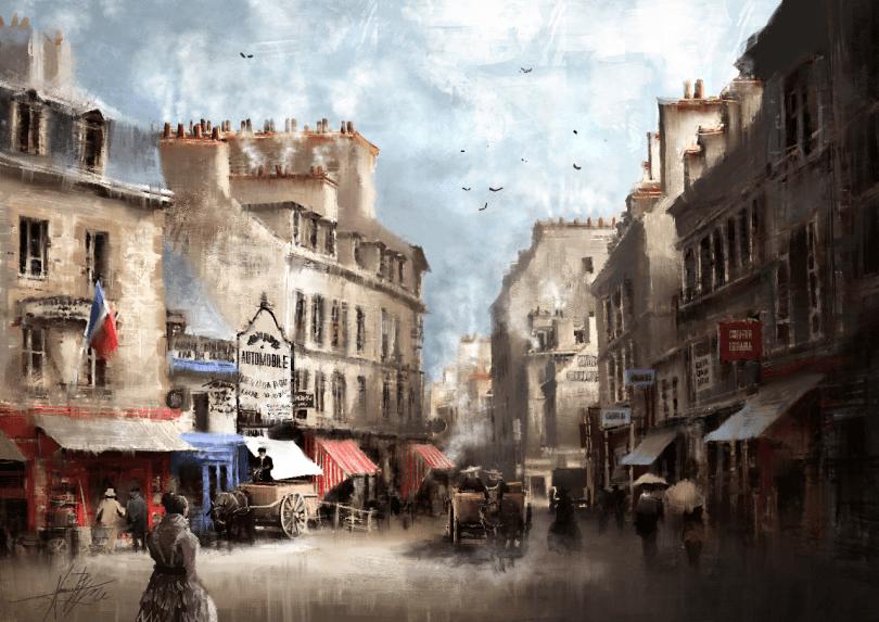 Saint-Brieuc, autrefois (peinture numérique) © Alexis Le Borgne