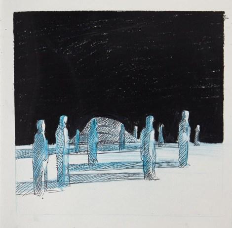 Crayon et craies sur papier 25 × 25 cm
