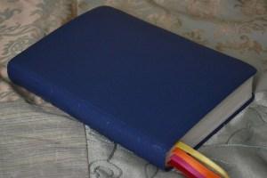 An imitation leather cloth in a blue levant grain