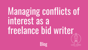 Blog post: managing conflicts of interest as a freelance bid writer