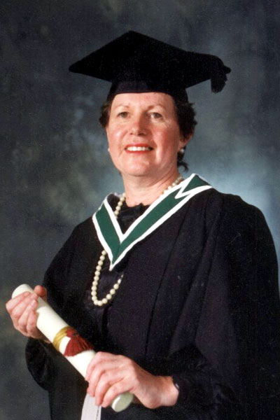 Receiving her Degree in English & Art History from UCD 2 years before she died..