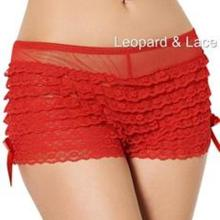 Red Burlesque Frilly Lace Sheer Boyshort Knickers Side Bows