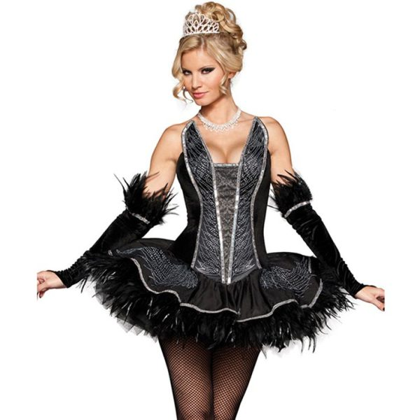 Deluxe Black Swan Ballet Costume Feather Trim, Petite Size
