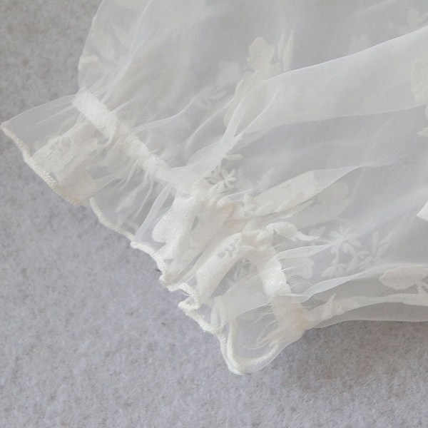 White Organza Off Shoulder Ruched Crop Top Short Lace Sleeves