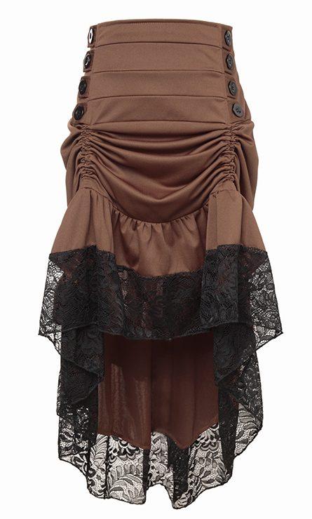Brown Steampunk High Low Skirt